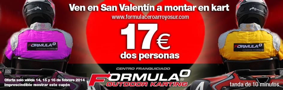 El 14 de febrero sábado día los enamorados montan en kart por sólo 17 euros 2 tandas